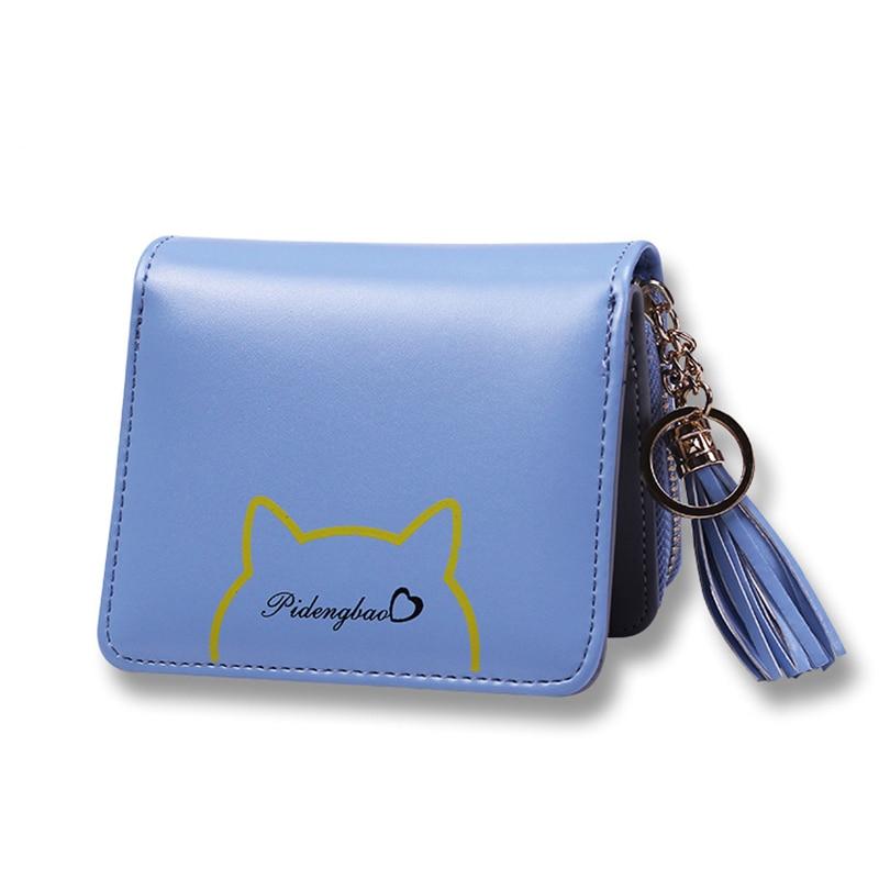 Top Quality New Autumn 2017 Fashion Women leather wallet carteira Tassel Short Purse Wallets card holder Girls Zipper Money Bag