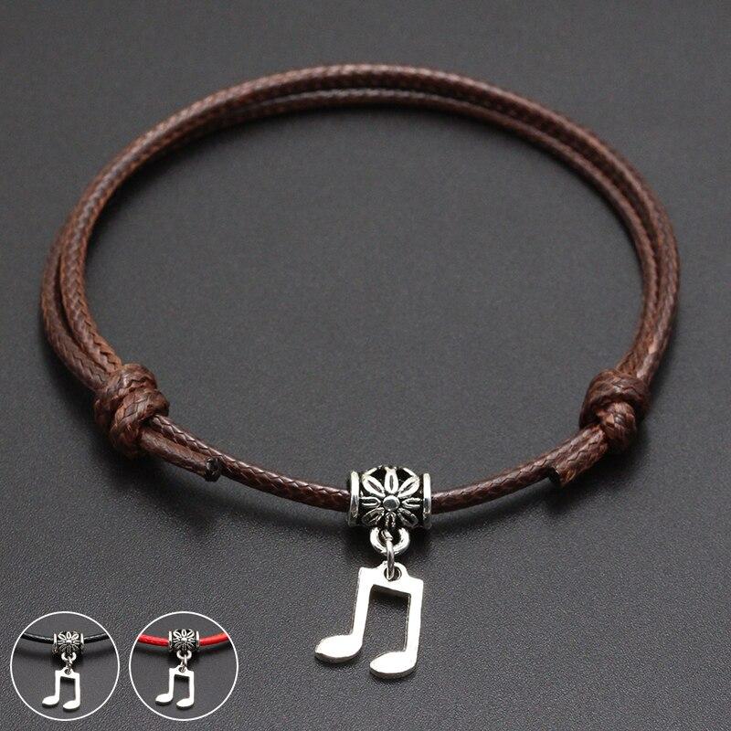 2020 New Music Symbol Pendant Red Thread String Bracelet Lucky Black Coffee Handmade Rope Bracelet for Women Men Jewelry