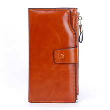 Women Genuine Leather Clutch Wallet Long Wallet Bag Purse Solid Lady Phone Bag Purse Female Card Holder Bag Purse