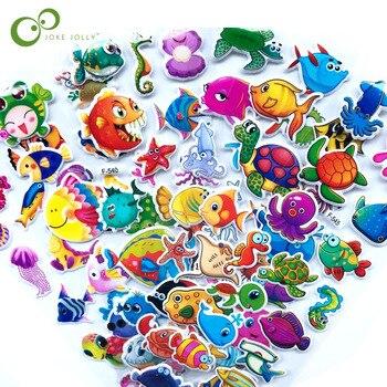 5 arkuszy 3D Cartoon ryby naklejki ścienne dla dzieci zabawki Bubble naklejki nauczyciel prezent dla dziecka nagroda pcv naklejki urodziny prezent YYY GYH