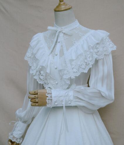 Royal Vintage Illusion Neck Women s Chiffon Blouse Gothic Sheer Long Lantern Sleeve Blouse with Ruffles