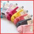 2016 outono nova 16 PCS = 8 pares de Meias de alta qualidade cor lisa sólida meias de cores doces stockinets das mulheres meias