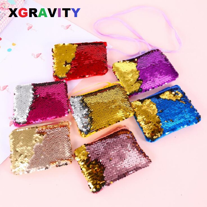 Xgravity Square Children Bag Cross Love Body Mix Color Glitter Sequined Girls Coin Bags Rope Handbags Kids Rope Baby Bags H182