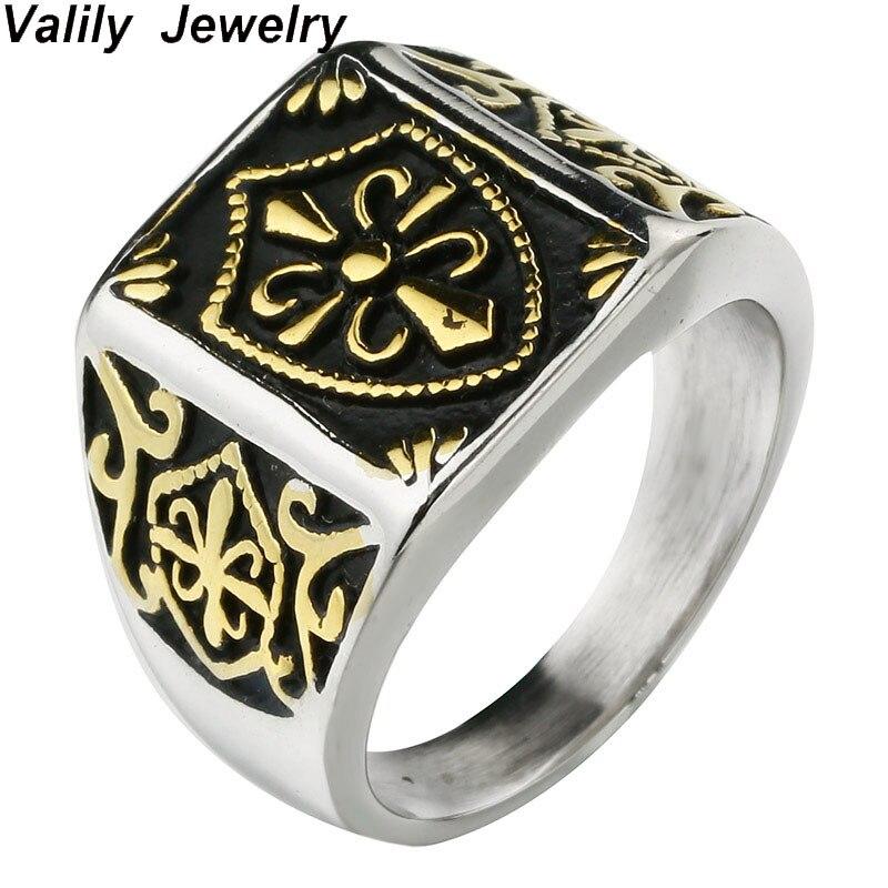 316 l en acier inoxydable hot new 18 k mode bijoux anneau croix motif décoratif
