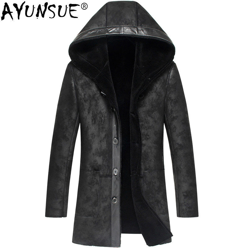 AYUNSUE Sheepskin Genuine Leather Jacket Men Autumn Winter Mens Shearling Jacket  Real Fur Coat Hooded Outwear LSY070278 KJ1281