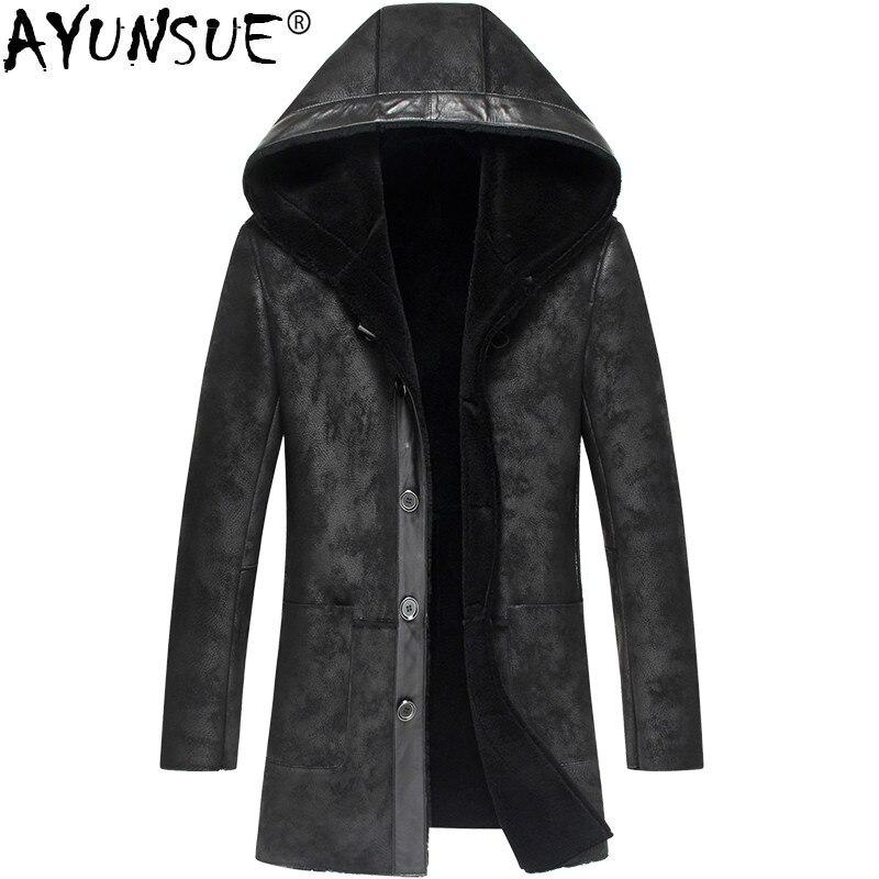 AYUNSUE de piel de oveja de cuero genuino chaqueta hombres chaqueta de otoño e invierno hombre chaqueta Real de piel de Abrigo con capucha Outwear LSY070278 KJ1281