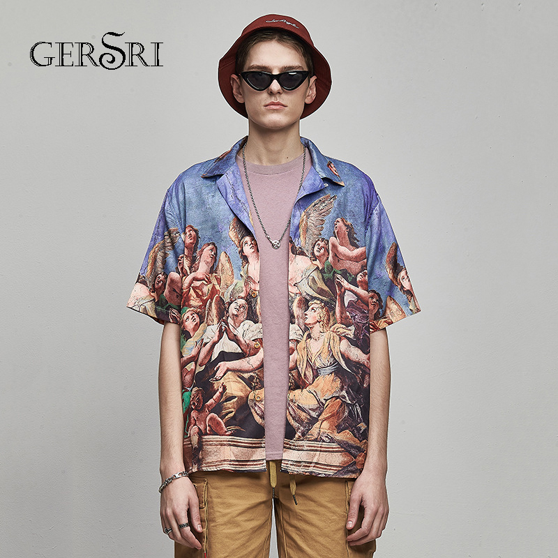 Gersri Hawaiian Shirt Summer Casual Printing Shirts Men Plus Size Vacation Tops Fashion Regular Fit Mens Cotton Short Sleeve