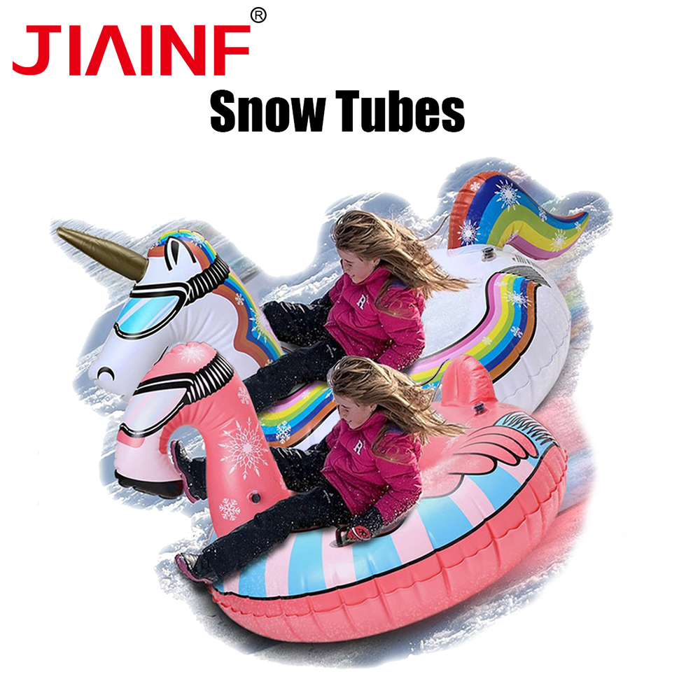 Unicorn Snow Tubes For Kids Adults Inflatable Flamingo Ring Skiing Sledge Ring Ski Circle Snow Board With Handle Winter Toy brand name flexible flyer snow twist inflatble snow tube sports tube winter ski circle sledge twist for 2 person 2015 new style
