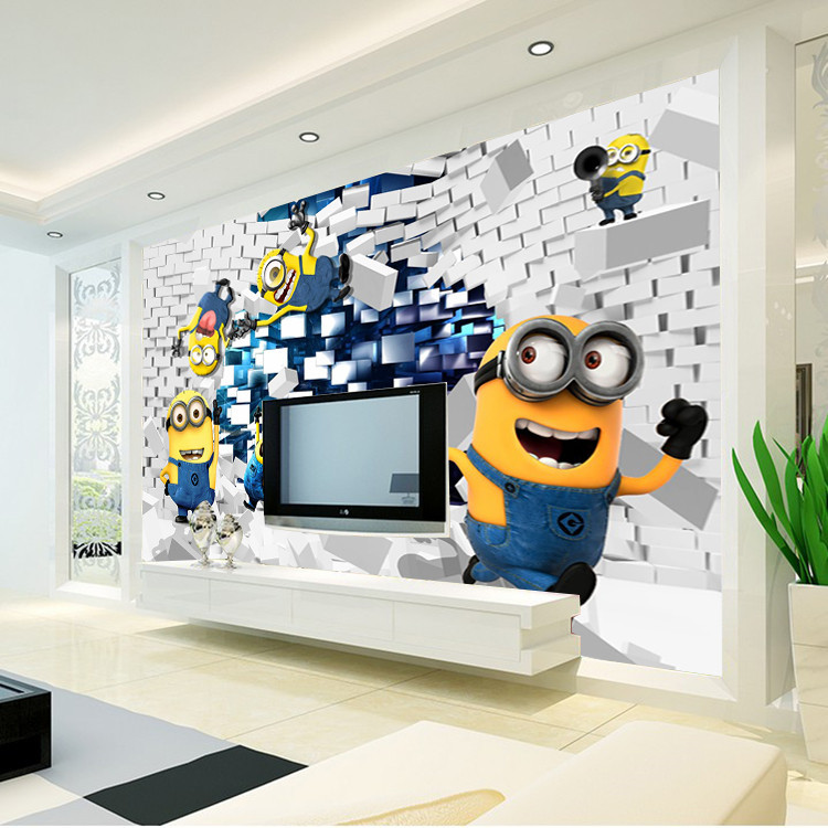 3D Minions Photo Wallpaper Cartoon Despicable Me Wall Mural Silk Boys Bedroom Kid Room Decor Art Home Decoration Funny In Wallpapers From