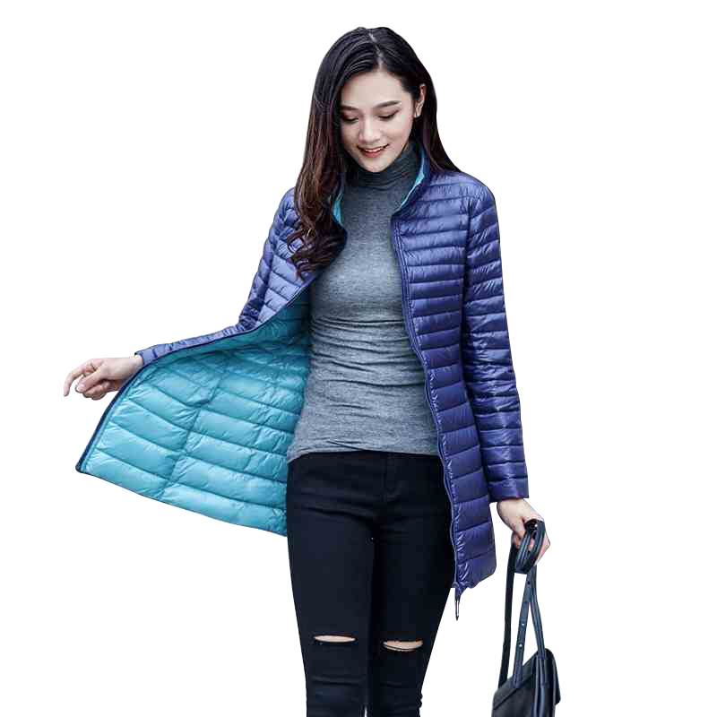 89e371ae22b Double-Sided Wearing Ultra-Light Duck Down Coat Women Winter Long Down  Jacket Female Plus Size S-4XL Waterproof Warm Parkas W75