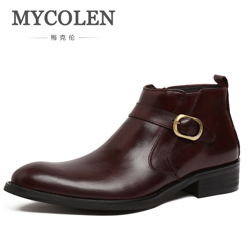 MYCOLEN Autumn Winter Genuine Leather Men Boots Fashion Casual High Top Buckle Ankle Boots Shoes Men Career Work Boots Man autumn warm plush winter shoes men zipper 100% genuine leather boots men thick bottom waterproof black high top ankle men boots