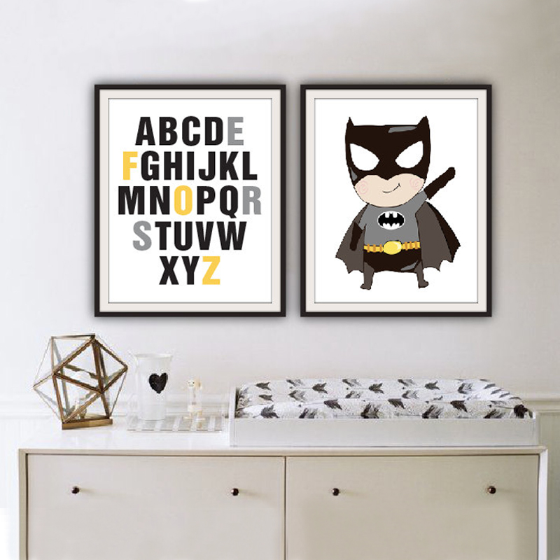 Buy classic super hero poster alphabet for Super cheap home decor