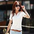 2015 Летняя Повседневная Tee Shirt Женщины V-образным Вырезом Тонкий Хлопок женские Футболки С Коротким Рукавом Blusas Мода Топы Vestidos Оптовая
