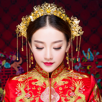 Classical Gold Color Chinese Traditional Hair Jewelry Set Tassel Hairbands Coronet Hairpins Earrings Bridal Wedding Bijoux