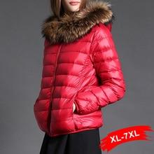 Winter Warm Plus Size  White Dark Down Short Coat Hooded Duck Down Jacket 4XL 6XL 7XL Women Down Parkas Thick Warm Dames Jassen