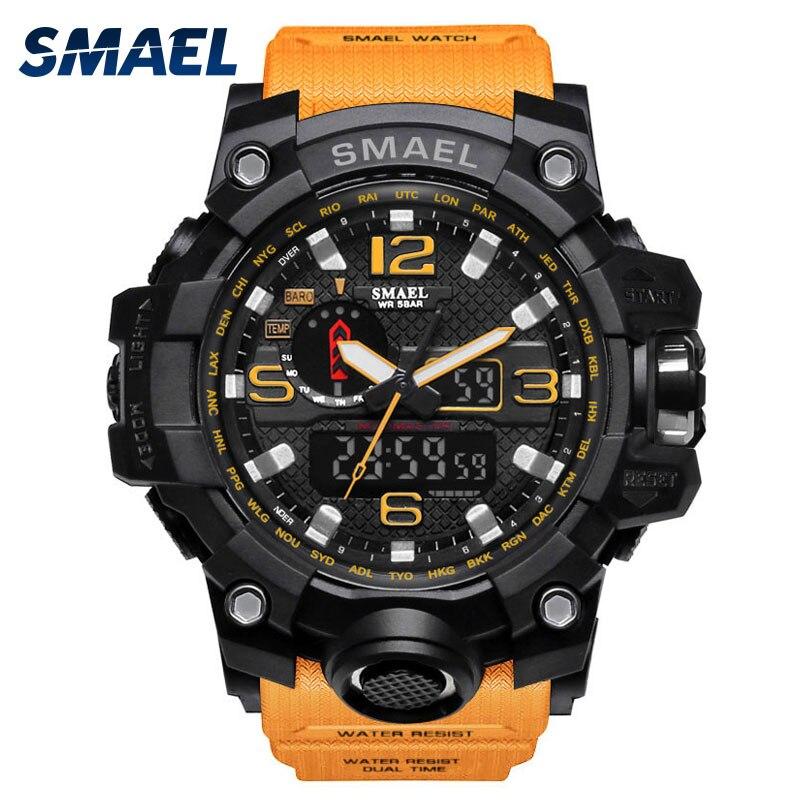 SMAEL uhr in dual display uhren männer wasserdichte led sport relogio masculino S SHOCK Orange Sport digital military uhr 1545