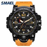 Montre SMAEL à double affichage montres hommes LED étanche Sport relogio masculino S SHOCK Orange Sport montre militaire numérique 1545