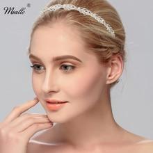Miallo Women Crystal Rhinestone Headband Flower Leaf Pattern Tiara Hair Clips Elegant Headwear Wedding Jewelry Hair