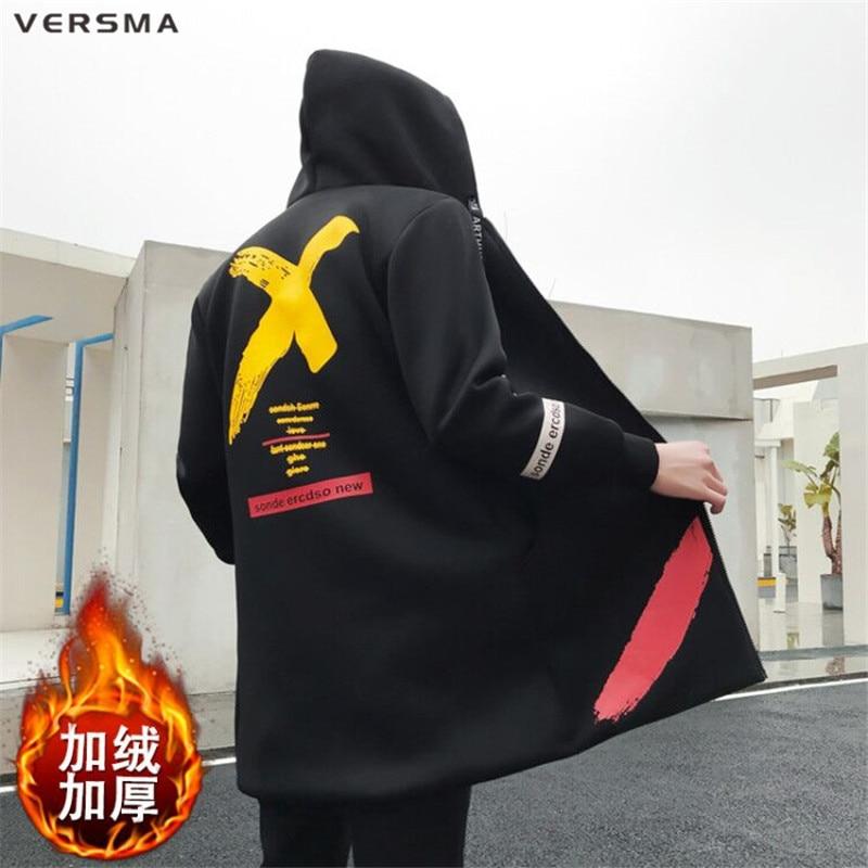 VERSMA 2017 Winter Casual Long Hooded Fur Trench Coat Men Jacket Overcoat Korean Harajuku Vintage Gothic Clothing Men Long Coat