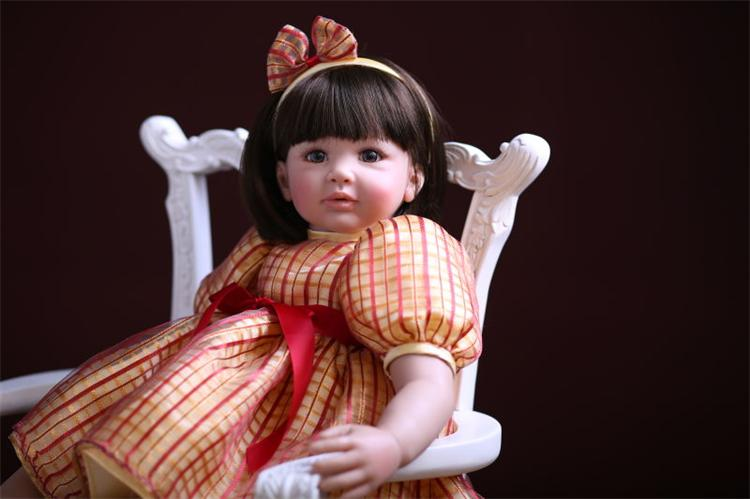 60cm Silicone Reborn Baby Doll Toys Realistic Vinyl Toddler Princess Girl Babies Dolls Kids Child Birthday Gift Play House Toy vinyl silicone toddler doll toy play house dolls birthday gift for kids child 55cm cute high end princess reborn girl baby dolls