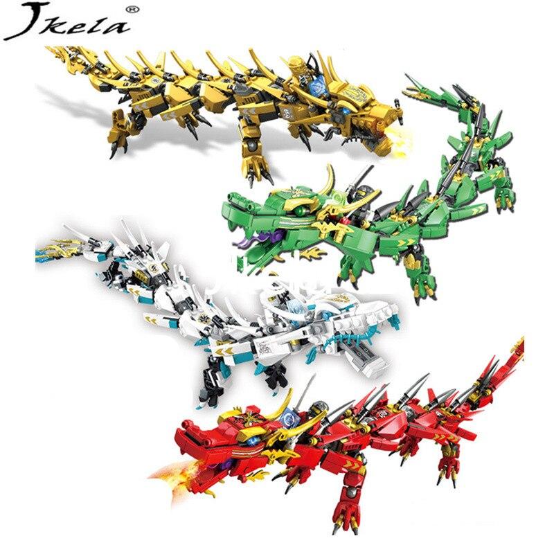 {Hot] LegoINGly Ninjago Movie Flying mecha dragon Transform DIY Building Block Sets Compatible con legoing ninjagoes
