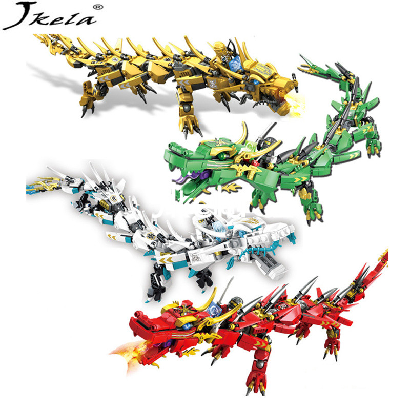 {Hot] LegoINGly Ninjago Movie Flying mecha dragon Transform DIY Building Block Sets Compatible con legoing ninjagoes