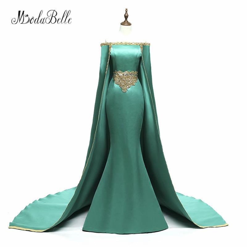 modabelle Saudi Arabia Long Evening Dress Prom 2018 With Cape Hunter Green Golden Beaded Mermaid Formal Dress Party Wear Custom