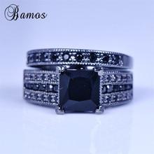 Bamos Male Female Wedding Ring Set 925 Silver Black Gold Eng
