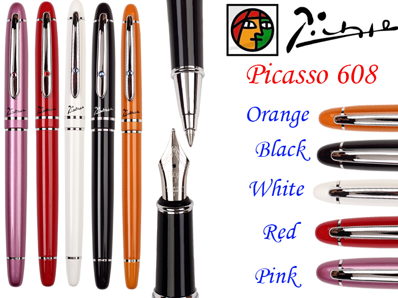 15 pcs/lot wholesale  Fountain Pen M Nib or Rollerball Pen M Tip 5 Colors to Choose PICASSO 608  the best gift Free Shipping fountain pen curved nib or straight nib to choose hero 6055 office and school calligraphy art pens free shipping