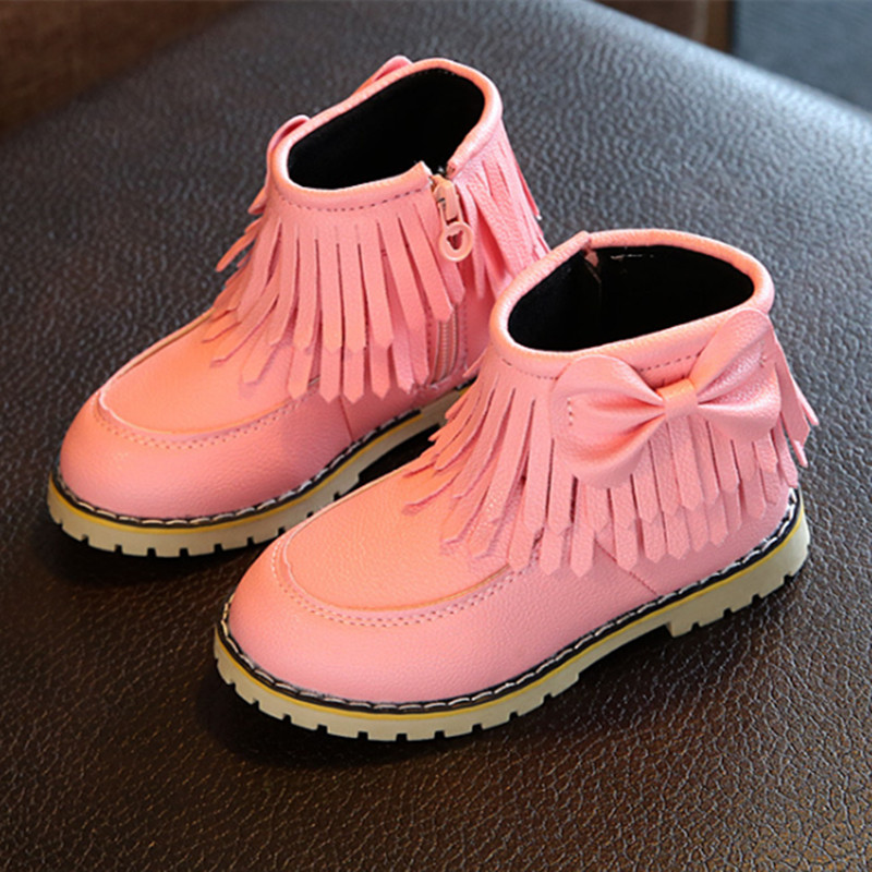 Winter child girls snow boots warm plush soft bottom baby girls shoes leather Tassel Martin Boots black red white for 8 9 10 11