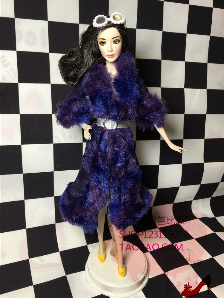 1/6 fashion doll clothes  Accessories Fashion imitation fur purple  coat for barbie Doll 30cm doll accessory 30 new styles festival gifts top trousers lifestyle suit casual clothes trousers for barbie doll 1 6 bbi00636