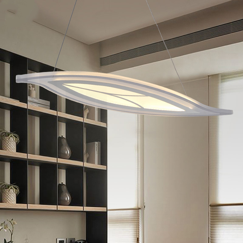 Leaf LED Pendant lights Modern Kitchen Acrylic Suspension Hanging Ceiling Lamp Dining Table Lighting For Dinning Room WPL135 modern led pendant lights for dining living room hanging circel rings acrylic suspension luminaire pendant lamp lighting lampen