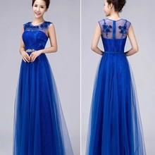 Длинные свадебные платья Новое поступление невесты сладкое кружевное длинное синее свадебное платье плюс размер длина пола формальное платье