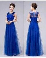 Longo Vestido de Noite 2017 Novo Chegada de Noiva Doce Laço Longo Azul Vestido de Festa de casamento Plus Size Até O Chão Vestido Formal 5 Cores