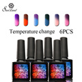 Saviland 6pcs Temperature Change Nail Gel 10ml Mood Colorful UV Polish Soak Off Thermo 24 Colors Long Lasting Varnish