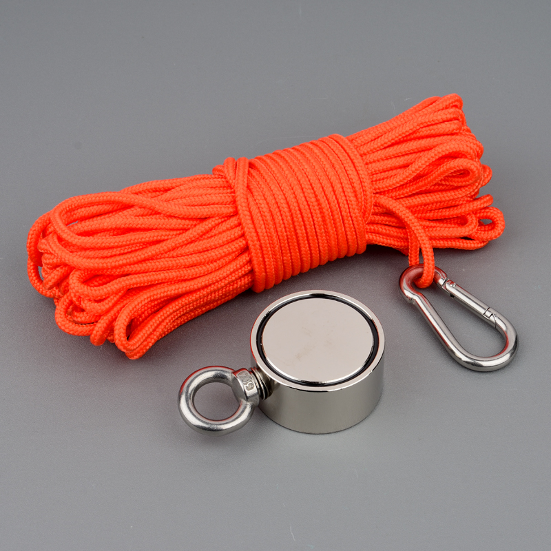 100*2KG Super Powerful Neodymium Strong Magnets Water Magnet Magnetic Material Fishing Salvage Double side Magnet with Rope