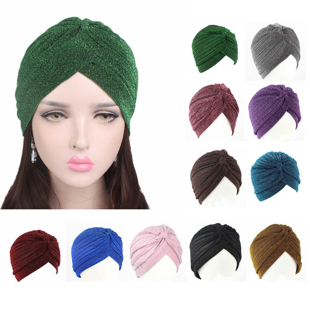 ad82dba482b Titmsny Chemo Cap gold bright silk hat Muslim Turban Hat Women Stretchy  Soft Indian Style Turban