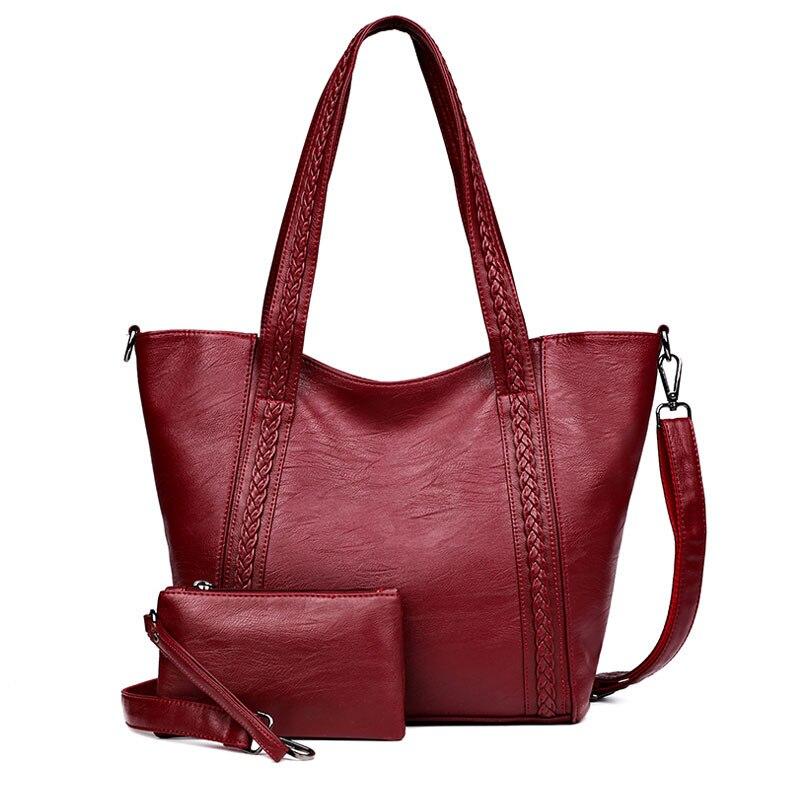 2Pcs/Set Large Capacity Handbag Casual Tote Bag Female Designer Women Shoulder Bag With Wallet Coins Purse Black