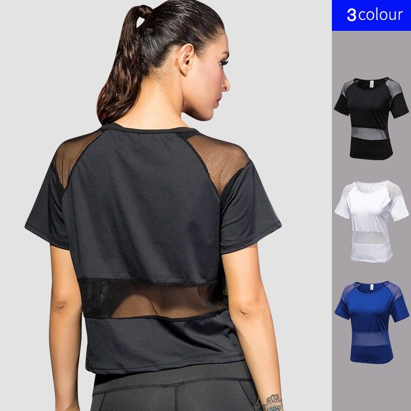 ✔  Рубашка для бега Женская спортивная верхняя одежда для фитнеса Сексуальная выдолбленная верхняя част ①