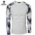 2015 New Arrival T Shirt Men Fashion Fashion Printed T-Shirt Slim Fit Long Sleeve T-Shirt Men Shirt Camisa Masculina XXL FWEQAA
