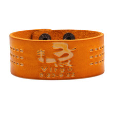 Hand Wrist Band 12 Constellation bracelet men fashion Orange Genuine leather snap button bracelets & bangles Pulseira hombres(China)