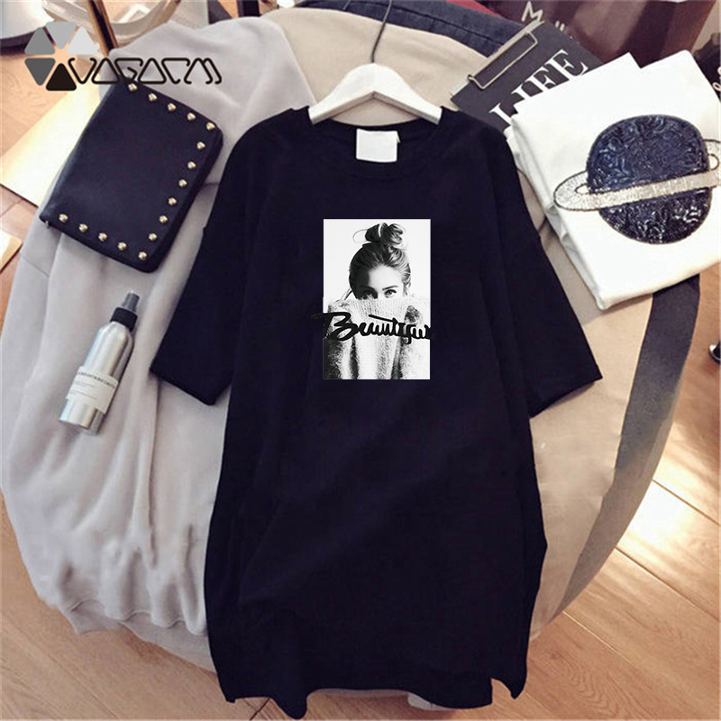Летнее платье футболка, женское платье с коротким рукавом белого и черного цвета, Повседневная Свободная одежда, Vestidos, вечерние платья размера плюс 4XL для девочек 2020|Платья|   | АлиЭкспресс