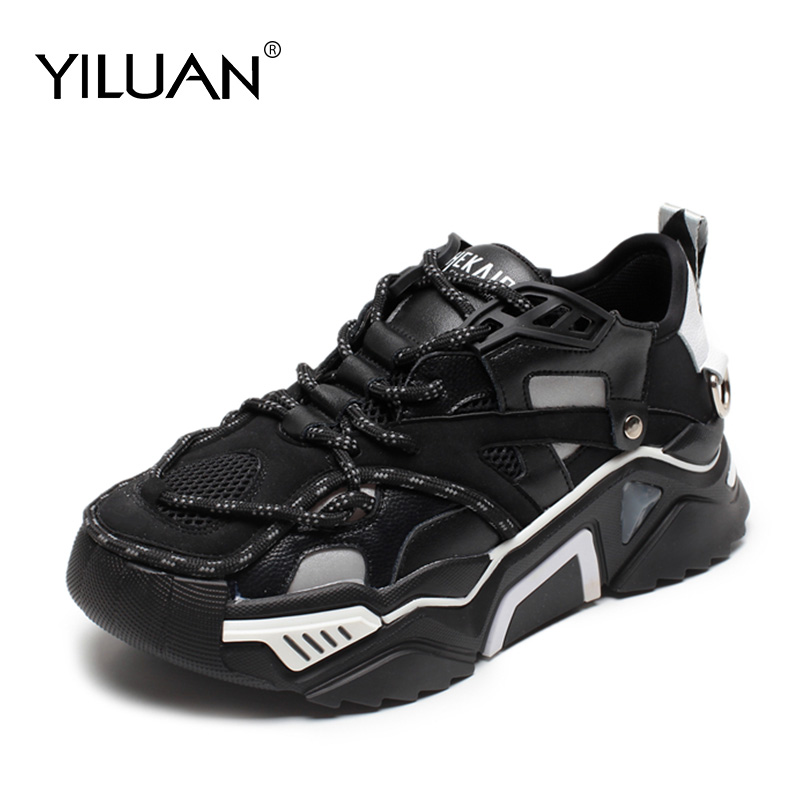 Yiluan leather Thick Daddy Sneakers shoes women 2020 autumn new fashion trend light running shoes wild