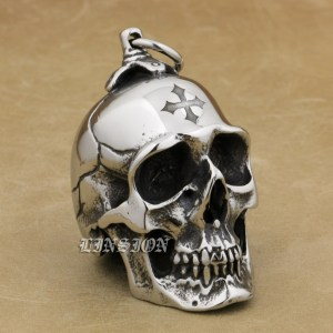 Image 2 - LINSION Huge Heavy 316L Stainless Steel Cross Skull Pendant Mens Biker Rocker Punk Style AJ101 Laser Engraved