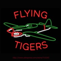 Flying Tigers Airplane Neon Sign Neon Bulbs signage Custom Neon LOGO Real Glass Tube Recreation Art Room Neon Sign Custom 31X24