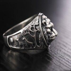 Image 3 - ZABRA 100% Реальное Твердое серебряное кольцо 925 мужское кольцо с Львом Винтажное кольцо в стиле стимпанк Ретро Байкерская бижутерия из стерлингового серебра мужское ювелирное изделие