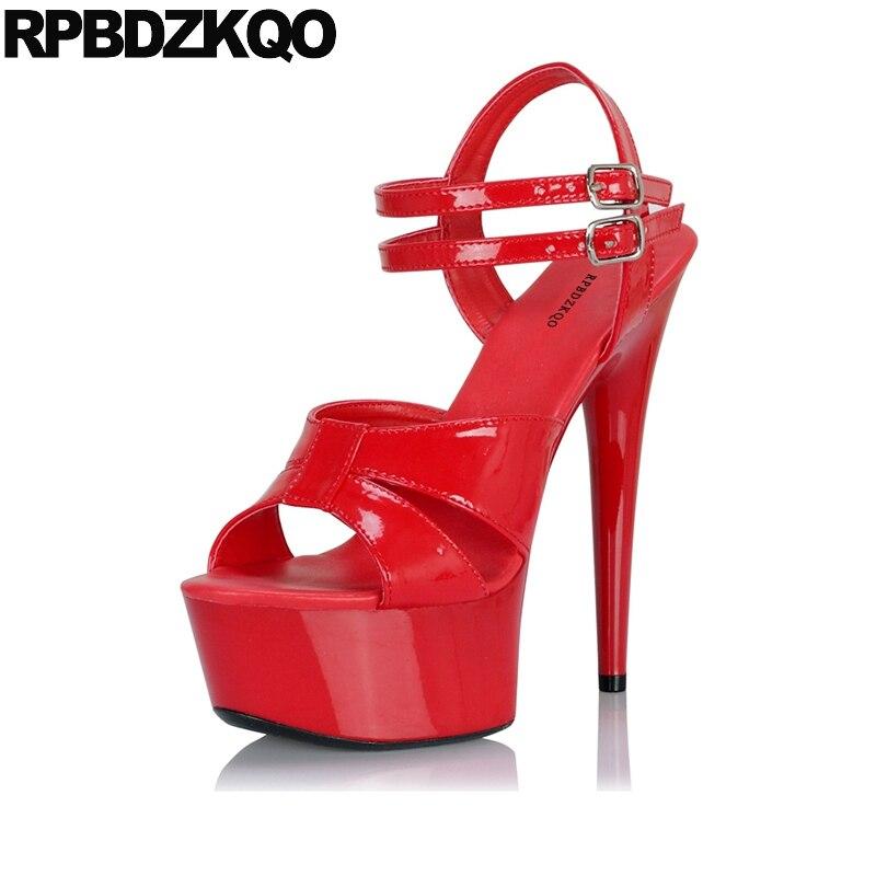 Stiletto Pumps Stripper Big Size Platform 11 Women Shoes Gothic Fetish 2018 High Heels Crossdressed Double Strap Sandals Red цена