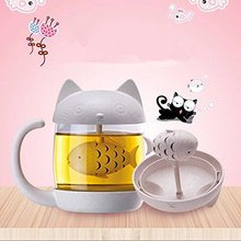 Cute Cat  Milk Coffee Mug Water Glass Cup Tea Mug with Fish Tea Strainer Filter Tea Cups Home Office Cup for Fruit Juice 10pcs lot 450ml party disposable cups pink color tasting cup coffee hot drink pp cup for milk tea fruit juice party supplies