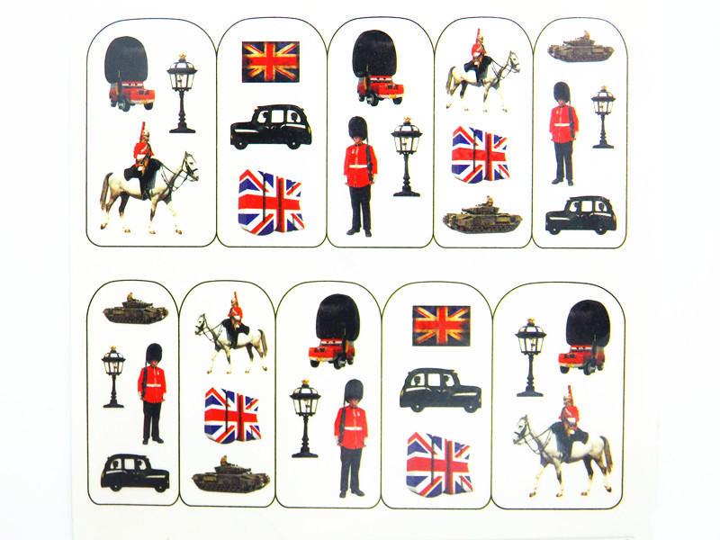 Water Transfer Nail Art Stickers Decal Cute Uk Flags Solr Army Design French Manicure Foils Sting Tools