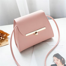 Simple Flap Shoulder PU Leather Bags Women Girls Pure Color Mini Messenger Chest Bag Cross body Handbags bolsa feminina(China)